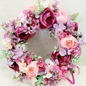 Lila, pink és világos rózsaszín boglárkás selyemvirág ajtókopogtató - Meska.hu