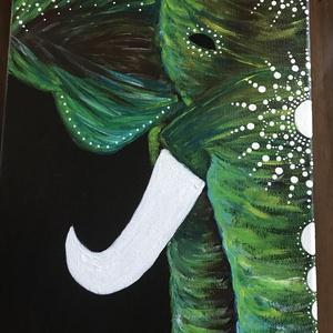 Zöld elefánt, Otthon & lakás, Képzőművészet, Festmény, Akril, Napi festmény, kép, Festmény vegyes technika, Festészet, Feszített vászonra, pontozó technikával készült akril festmény. \n\nKeretezést nem igényel, képakasztó..., Meska