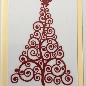 Karácsonyi Üdvözlőkártya Scrapbooking technika, FMA Scr 106a, Otthon & lakás, Naptár, képeslap, album, Képeslap, levélpapír, Papírművészet, Karácsonyi Üdvözlőkártya Scrapbooking technika\nAz üdvözlőkártya mérete 105x148,5 mm. A kivágott feny..., Meska