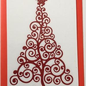 Karácsonyi Üdvözlőkártya Scrapbooking technika, FMA Scr 106b, Otthon & lakás, Naptár, képeslap, album, Képeslap, levélpapír, Papírművészet, Karácsonyi Üdvözlőkártya Scrapbooking technika\nAz üdvözlőkártya mérete 105x148,5 mm. A kivágott feny..., Meska