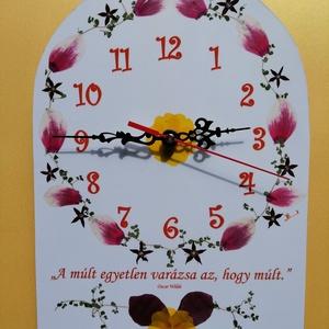 Egyedi Falióra Préselt virágokkal Paulo Coelho Idézettel, Otthon & Lakás, Dekoráció, Falióra & óra, Mindenmás, A képen látható egyedi falióra, préselt virágokkal. Mérete kb az a4-es lapnak megfelelő, azaz 297x21..., Meska