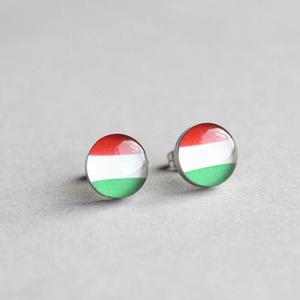 Magyar zászló nemesacél bedugós fülbevaló (ovcsatbolt) - Meska.hu