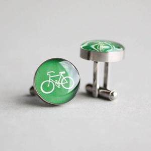 Bicikli nemesacél mandzsetta gombok (zöld) (ovcsatbolt) - Meska.hu