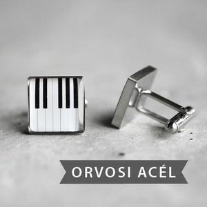 Zongora nemesacél mandzsettagombok (ovcsatbolt) - Meska.hu