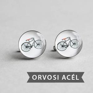 Kerékpár nemesacél mandzsettagombok (fehér, piros) (ovcsatbolt) - Meska.hu