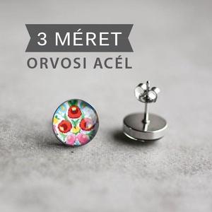 Kalocsai nemesacél fülbevaló (fehér) (ovcsatbolt) - Meska.hu