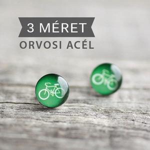 Bicikli nemesacél fülbevaló (zöld, bedugós), Ékszer, Fülbevaló, Ha SÜRGŐS, kérdezz vásárlás előtt, lehet, hogy van belőle kész darabom is. _________________________..., Meska