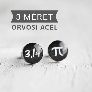 3,14 nemesacél bedugós fülbevaló, PI (ovcsatbolt) - Meska.hu