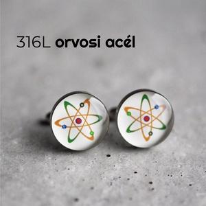 Atom nemesacél mandzsetta gombok (fehér), Mandzsettagomb & Nyakkendőtű, Ékszer, Ékszerkészítés, Mindenmás, Ha SÜRGŐS, kérdezz vásárlás előtt, lehet, hogy van belőle kész darabom is.\n_________________________..., Meska