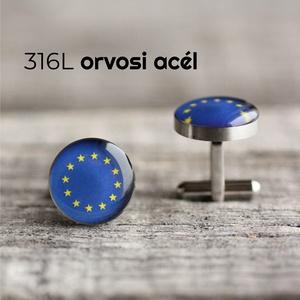 EU zászló nemesacél mandzsettagombok, Mandzsettagomb és Nyakkendőtű, Ékszer, Ékszerkészítés, Mindenmás, Ha SÜRGŐS, kérdezz vásárlás előtt, lehet, hogy van belőle kész darabom is.\n_________________________..., Meska