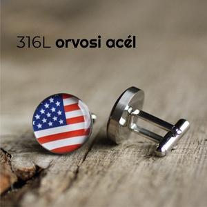 Amerikai zászló nemesacél mandzsettagombok, Mandzsettagomb és Nyakkendőtű, Ékszer, Ékszerkészítés, Mindenmás, Ha SÜRGŐS, kérdezz vásárlás előtt, lehet, hogy van belőle kész darabom is.\n_________________________..., Meska