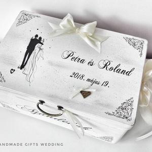 Esküvői nászajándékos doboz - nászpárral, Esküvő, Nászajándék, Esküvői dekoráció, Otthon & lakás, Lakberendezés, Tárolóeszköz, Doboz, Decoupage, transzfer és szalvétatechnika, Festett tárgyak, Ha az esküvőtök minden részletébe egyediséget szeretnétek vinni, ha kedvelitek a romantikus, vagy a ..., Meska
