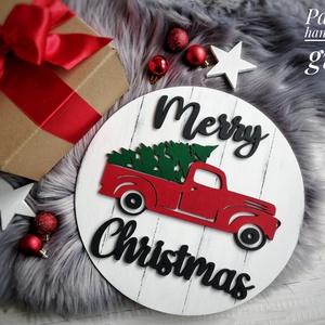 Piros furgonos karácsonyi tábla, Otthon & lakás, Karácsony, Dekoráció, Dísz, Ünnepi dekoráció, Karácsonyi dekoráció, Festett tárgyak, Famegmunkálás, Egyedi, karácsonyi dekortáblámmal hangulatosabbá teheted otthonod az ünnepi időszakban. A kör alapo..., Meska