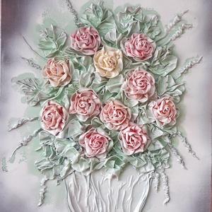 1szál sárga szál rózsa  textilszobrászattal készítve, Otthon & Lakás, Dekoráció, Kép & Falikép, Újrahasznosított alapanyagból készült termékek, Mindenmás, Textilszobrászattal készült faliképemet feszített vászon alapra készítettem.\nAlkotásaim  textilből k..., Meska
