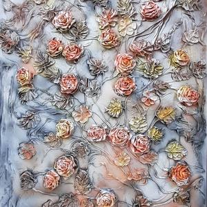 Virágözön textilszobrászattal készítve, 115x75cm, Otthon & Lakás, Dekoráció, Kép & Falikép, Újrahasznosított alapanyagból készült termékek, Mindenmás, Textilszobrászattal készült faliképemet feszített vászon alapra készítettem.\nAlkotásaim  textilből k..., Meska