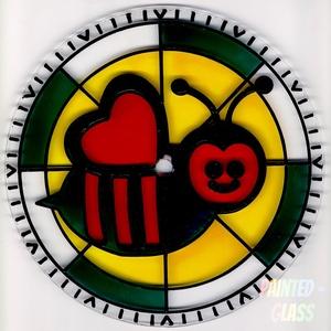 Méhecskés falióra, Gyerek & játék, Gyerekszoba, Egyéb, Festett tárgyak, Kézzel kifestett, kedves hangulatú, gyönyörű színekben pompázó, méhecskés üveg falióra gyermekeknek...., Meska