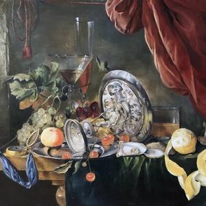 Jan Davidsz de Heem, Table, saját készítésű másolat, 50x60cm, olaj vászonra, Otthon & lakás, Dekoráció, Kép, Képzőművészet, Festmény, Olajfestmény, Festészet, A barokk csendéletek egzotikus látványa minden figyelmet megragad. Az eredeti festmény pontos mása, ..., Meska
