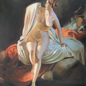Andrei Frantsevich Belloli, Bather, saját készítésű másolat, 70x50cm, olaj vásznon, Otthon & lakás, Dekoráció, Kép, Képzőművészet, Festmény, Olajfestmény, Festészet, Az orosz származású festő híres a női aktjairól! A festmény egy, éppen a vízbe lépő fürdőzőt ábrázol..., Meska
