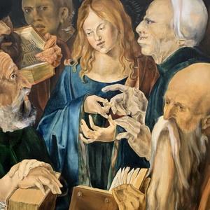 Albert Dürer, Krisztus a doktorok közt,  saját készítésű másolat, 60x75cm, olaj fatáblán, Otthon & lakás, Képzőművészet, Festmény, Olajfestmény, Festészet, A híres, magyar származású bajor festő, Albert Dürer, a reneszánsz idején alkotott. Híres vallásos k..., Meska