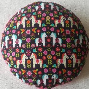 Pónis virágos párna kislányoknak, Otthon & lakás, Lakberendezés, Bútor, Dekoráció, Varrás, Vidám mintás, pónis-virágos párna kislányoknak, pihepuha minky és designer textil felhasználásával k..., Meska