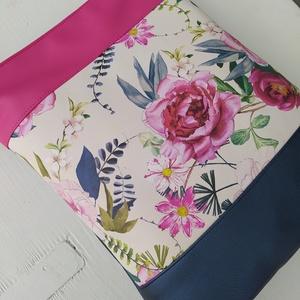 Metálkék - rózsaszín virágos textilbőr válltáska, Táska & Tok, Kézitáska & válltáska, Válltáska, Varrás, Meska