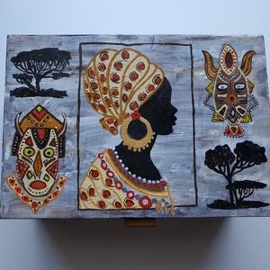 Afrikai mintás díszdoboz, Otthon & Lakás, Dekoráció, Díszdoboz, Festett tárgyak, Kézzel festett, saját tervezésű egyedi mintával. \nMéretei: 20cmx14cmx8cm, Meska