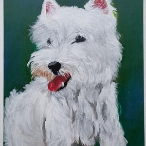 Westie portré, Művészet, Festmény, Akril, Festészet, Festett tárgyak, Akril festékkel festett westie portré 30x40 cm-es préselt vászonra. \n, Meska