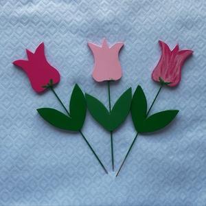 Tavaszt provokáló virágcsokor (3 db/csokor), Otthon & lakás, Dekoráció, Lakberendezés, Kerti dísz, Apukám kézügyességét dicséri ez a fából készített virágcsokor  Magassága: 25 cm  Akrilfestékkel keze..., Meska