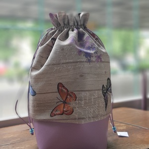 Kenyértartó pillangókkal, Kenyeres zsák, Bevásárlás & Shopper táska, Táska & Tok, Varrás, Mintás vászonból és műbőrből készült kenyereszsák, kenyértartó,  kenyérkosár. Toast vagy formakenyér..., Meska