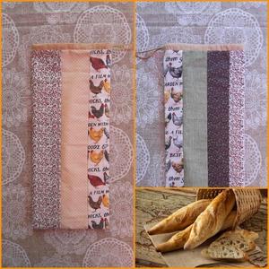 Bagettzsák PUL belsővel , Otthon & lakás, Konyhafelszerelés, Kenyértartó, NoWaste, Varrás, Formája miatt elsősorban bagetteknek való, pamutvászonból készült 21×50 cm-es kenyeret frissen tartó..., Meska