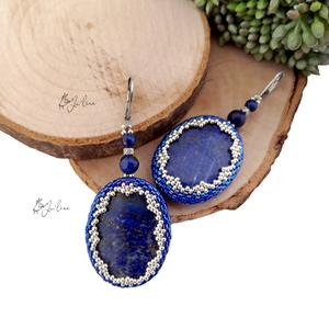 Nemesacél lápisz lazuli fülbevaló, Ékszer, Fülbevaló, Ékszerkészítés, - Aprólékos munkával, kézműves technikával befoglalt medálok adják kiemelkedő szépségét ennek a lápi..., Meska