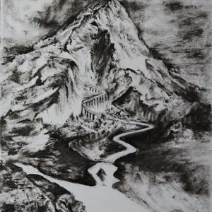 Ösvény, Művészet, Festmény, Festmény vegyes technika, Festészet, Monokróm szárazecset technikával készült festmény, dipa 250 g - os papírra.  Mérete A4. , Meska