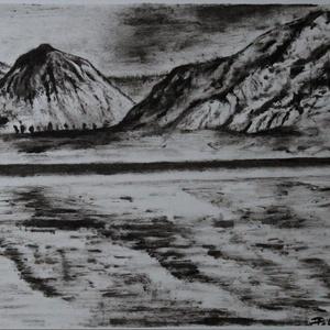 Tükröződés, Művészet, Festmény, Festmény vegyes technika, Festészet, Monokróm szárazecset technikával készült festmény, dipa 250 g - os papírra. Mérete A4., Meska