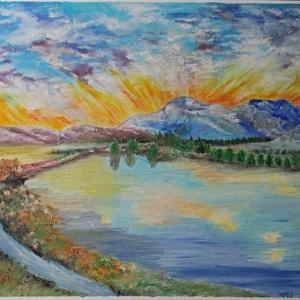 Naplemente, Művészet, Festmény, Olajfestmény, Festészet, Olajfestmény, 300g./m2 Fabriano Oil Tela speciális művészpapír, mérete 30*40cm, Meska