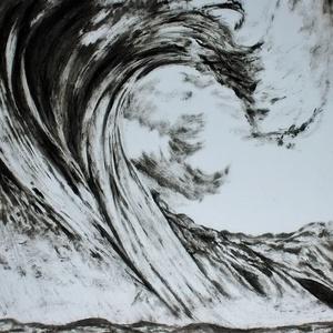 Hullám , Művészet, Festmény, Akril, Festészet, Monokróm szárazecset technikával készült festmény, 250 g - os művészpapírra. Mérete B3, Meska