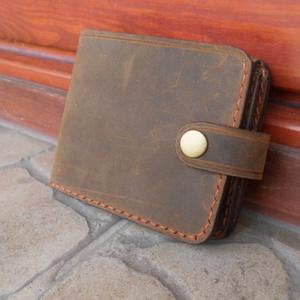 """Pénztárca\""""Retro Jeans\"""", Táska & Tok, Pénztárca & Más tok, Pénztárca, Bőrművesség, Varrás, Barna színű, pull-up marhabőrből készült pénztárca.\nVarrása, kézi,kéttűs díszvarrás.\nA belső részen ..., Meska"""