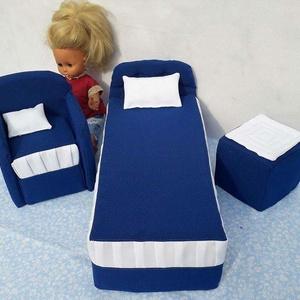 Ágyikó szett, Játék, Gyerek & játék, Varrás, Saját készítésű szivacs alapú textillel bevont játék babáknak való ágyikó és fotel. Mérete:puff 10x1..., Meska