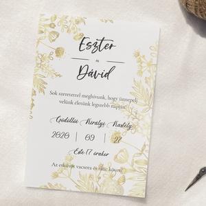 Esküvői meghívó, arany meghívó, természetes meghívó, esküvői lap, Esküvő, Meghívó & Kártya, Meghívó, Újrahasznosított alapanyagból készült termékek, Fotó, grafika, rajz, illusztráció, Arany színezetű egyoldalas esküvői meghívó különleges, virágos díszítéssel.\nHa a természetesség jegy..., Meska