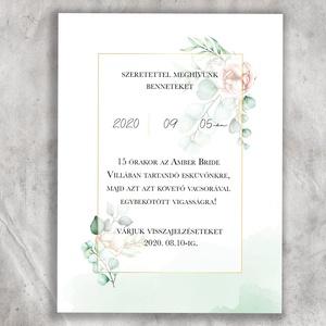 Esküvői meghívó, zöld meghívó, természetes meghívó, esküvői lap, Esküvő, Meghívó & Kártya, Meghívó, Újrahasznosított alapanyagból készült termékek, Fotó, grafika, rajz, illusztráció, Egyedi és különleges, természetességet sugárzó esküvői meghívó, amely akvarell stílusban készült. Vi..., Meska