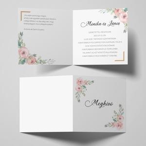 Esküvői meghívó, gyöngyházfényű meghívó, esküvői lap, Esküvő, Meghívó & Kártya, Meghívó, Újrahasznosított alapanyagból készült termékek, Fotó, grafika, rajz, illusztráció, EZÜST vagy ARANY színű gyöngyházfényű papírra nyomtatható, kinyitható, kocka alakú esküvői meghívó. ..., Meska