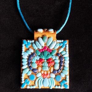 Tibeti stílusú nyaklánc, Medálos nyaklánc, Nyaklánc, Ékszer, Gyurma, Ékszerkészítés, Kézzel készített,egyedi,különleges antik hatású,tibeti stílusú nyaklánc polymer clay-ből,türkíz szín..., Meska