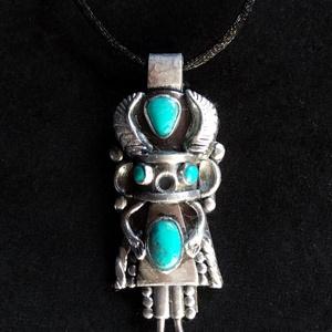 Kachina nyaklánc , Ékszer, Medálos nyaklánc, Nyaklánc, Kézzel készített,egyedi,különleges antik hatású, Hopi indián stílusú nyaklánc polymer clay-ből, türk..., Meska