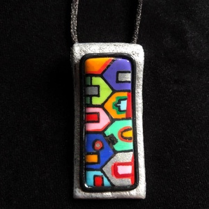 Hundertwasser nyaklánc, Ékszer, Medálos nyaklánc, Nyaklánc, Kézzel készített,egyedi,Hundertwasser stílusú nyaklánc polymer clay-ből,színes házikós díszítéssel,f..., Meska