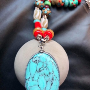 Bohém nyaklánc, Ékszer, Nyaklánc, Medálos nyaklánc, Kézzel készített,egyedi,bohém stílusú színes nyaklánc polymer clay-ből, ovális türkiz medállal,színe..., Meska