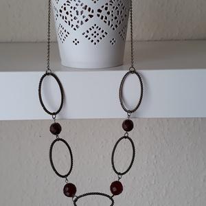 Feltűnő nyaklánc, Gyöngyös nyaklác, Nyaklánc, Ékszer, Ékszerkészítés, Gyöngyökből és karikákból álló lánc, Meska
