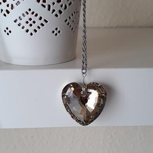 Szíves hosszú lánc, Medálos nyaklánc, Nyaklánc, Ékszer, Ékszerkészítés, Ezüst színű nyaklánc nagy szív medállal, Meska