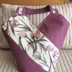 Tulipános  nyári oldaltáska, Válltáska, Kézitáska & válltáska, Táska & Tok, Varrás, Divatos nyári vászon oldaltáska, nyers alapon tulipános és  lila dekortextilből,  színben hozzáillő ..., Meska