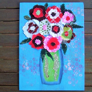 Virágok vázában, Dekoráció, Otthon & lakás, Kép, Lakberendezés, Falikép, Festészet, Kartonra feszített vászonkép. Akrilfestékkel festett alapra ragasztott virágok, amiket mintás anyago..., Meska