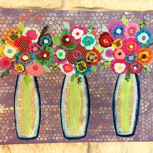 Virágok vázában, Kép & Falikép, Dekoráció, Otthon & Lakás, Festett tárgyak, Festészet, Feszített vászonkép, melynek mérete: 30x40 cm. Akril festékkel festett alap, amire a virágok ragaszt..., Meska