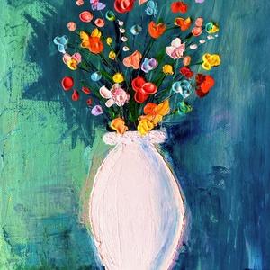 Színes virágok, Otthon & lakás, Dekoráció, Képzőművészet, Lakberendezés, Kép, Festmény, Akril, Falikép, Festészet, Festett tárgyak, Feszített vászonra akrillal festett 25x30m-es méretű kép., Meska
